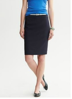 Navy Lightweight Wool Pencil Skirt