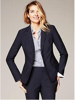 Navy Lightweight Wool Two-Button Suit Blazer