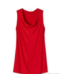 Sleeveless top with drape neck